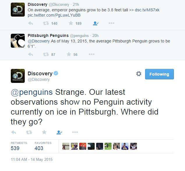 Discovery burns Pittsburgh Penguins