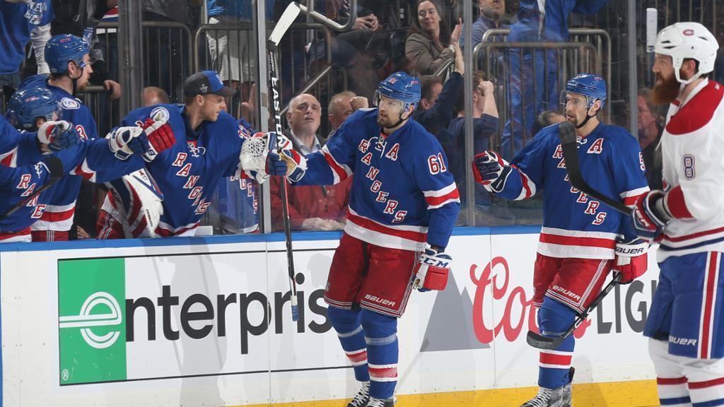 Rangers 2, Canadiens 1 (Tied 2-2)