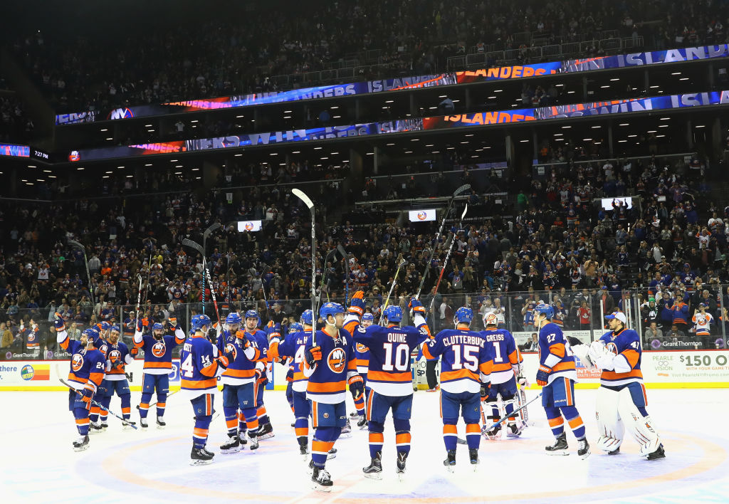 NEW YORK, NY - APRIL 09: The New York Islanders salute the fans following a 4-2 victory over the Ottawa Senators at the Barclays Center on April 9, 2017 in the Brooklyn borough of New York City. (Photo by Bruce Bennett/Getty Images)