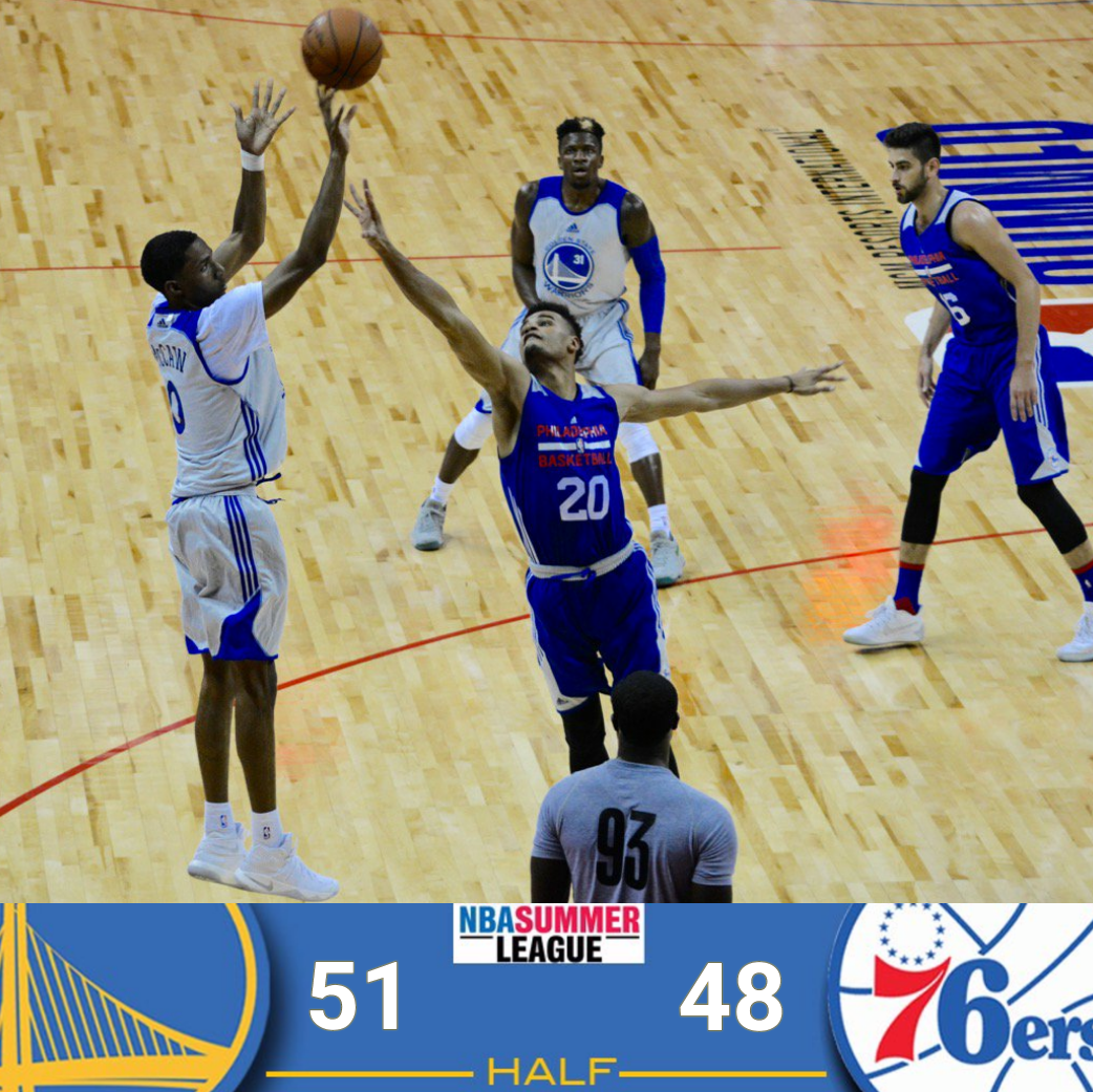 HALFTIME RECAP WITH HIGHLIGHTS: McCaw Heats Up, His 16 Points Help Warriors Lead Philadelphia 76ers, 51-48