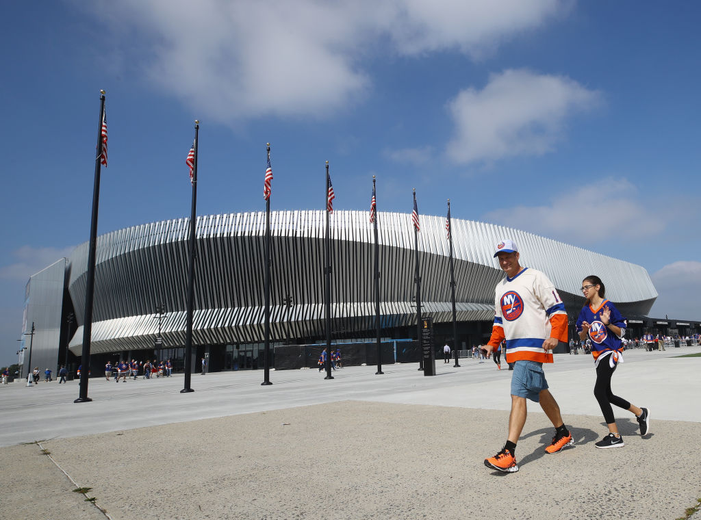 UNIONDALE, NY - SEPTEMBER 17: Fans arrive for a preseason game between the New York Islanders and the Philadelphia Flyers at the Nassau Veterans Memorial Coliseum on September 17, 2017 in Uniondale, New York. (Photo by Bruce Bennett/Getty Images)