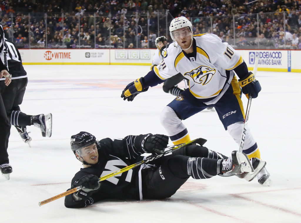 kates against the Nashville Predators at the Barclays Center on March 27, 2017 in the Brooklyn borough of New York City. The Predators defeated the Islanders 3-1.