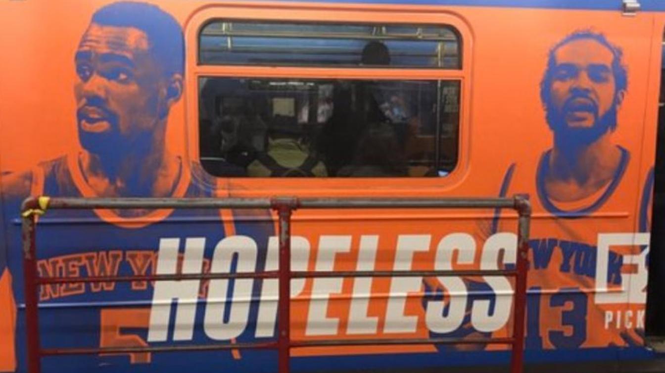"""FS1 Slams Joakim Noah and """"Hopeless"""" Knicks In NYC Subway Ad"""