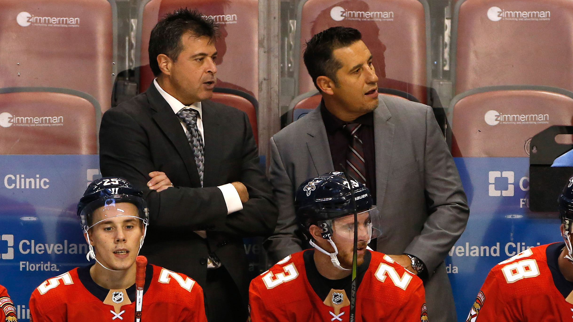 Sep 28, 2017; Sunrise, FL, USA; Florida Panthers head coach Bob Boughner (right) and assistant coach Jack Capuano (left) during the second period of a game against the Tampa Bay Lightning at BB&T Center. Mandatory Credit: Robert Mayer-USA TODAY Sports