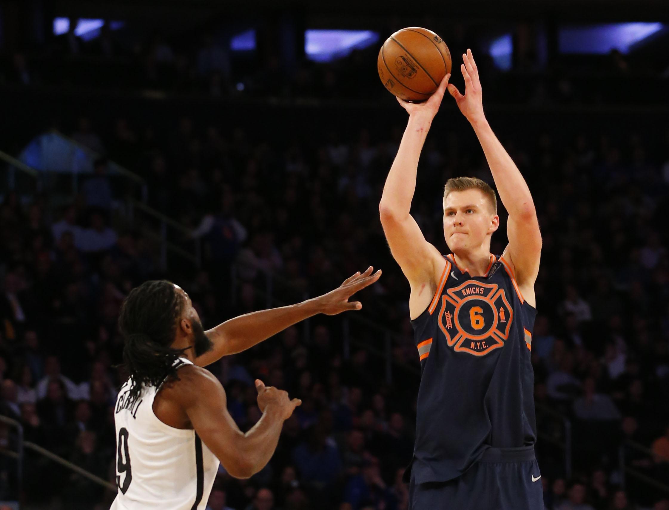 Kristaps Porzingis' Long Range Prowess Helps Knicks Defeat Nets