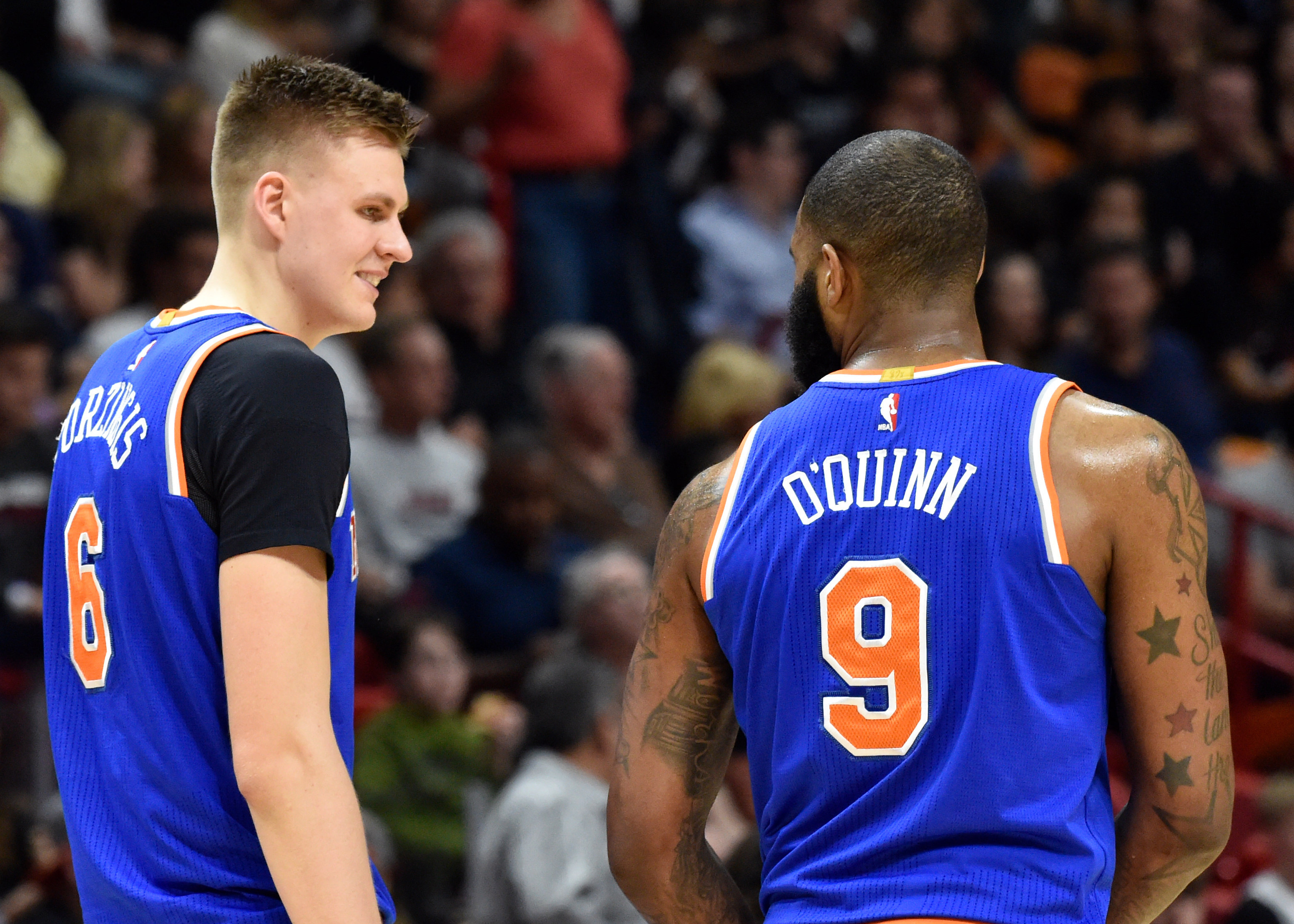 Kristaps Porzingis and Kyle O'Quinn to miss Knicks' game against Warriors