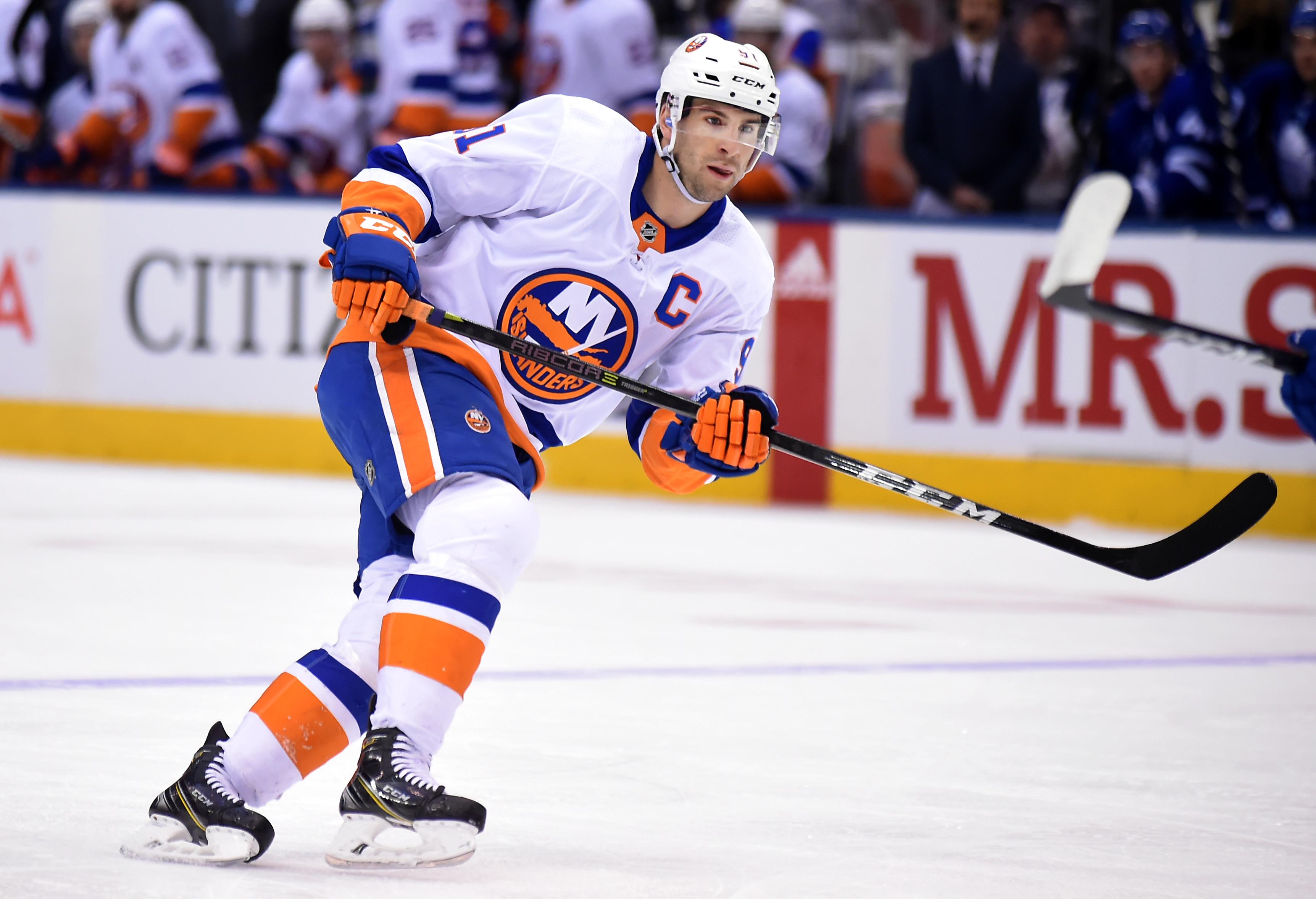 Jan 31, 2018; Toronto, Ontario, CAN; New York Islanders forward John Tavares (91) pursues the play against Toronto Maple Leafs at Air Canada Centre. Mandatory Credit: Dan Hamilton-USA TODAY Sports