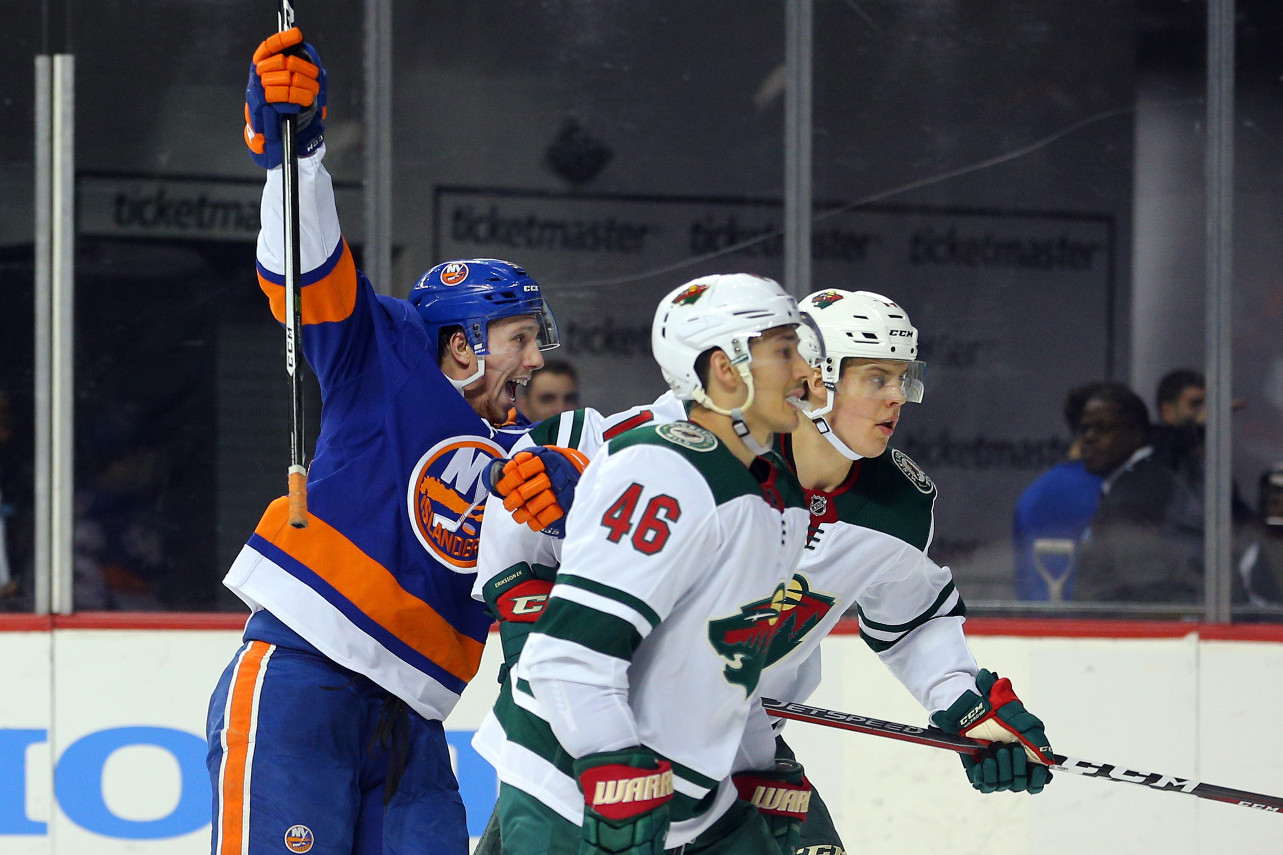 Feb 19, 2018; Brooklyn, NY, USA; New York Islanders center Tanner Fritz (56) reacts after scoring a goal against the Minnesota Wild during the second period at Barclays Center. The goal was the first of his NHL career. Mandatory Credit: Brad Penner-USA TODAY Sports