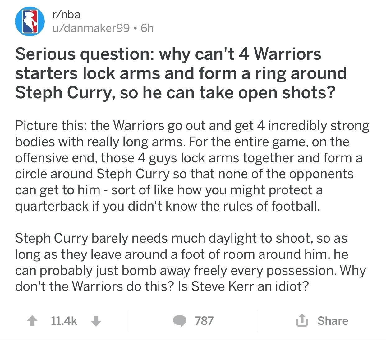 Curry Reddit Post