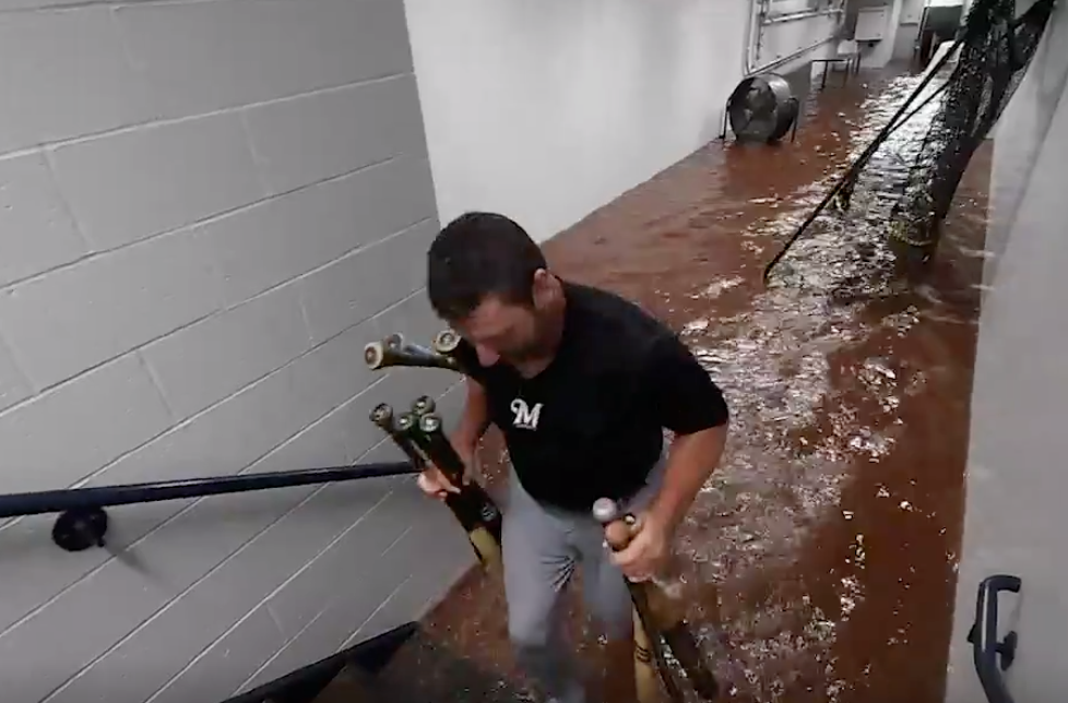LOOK: PNC Park tunnel flooded, Brewers player gets soaked