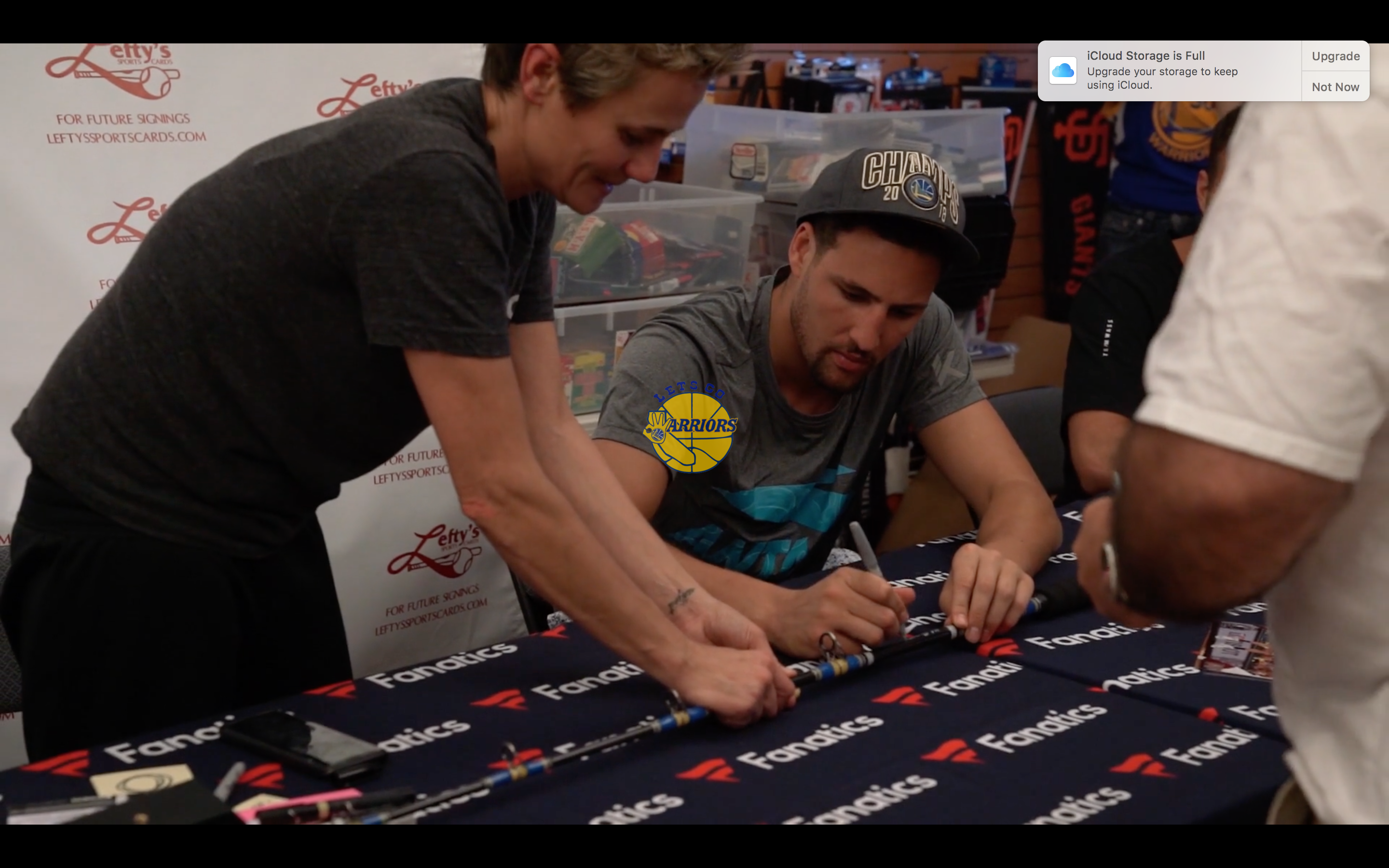 PHOTO GALLERY: Klay Thompson autographs a fishing pole at Lefty's Sports Autograph Signing