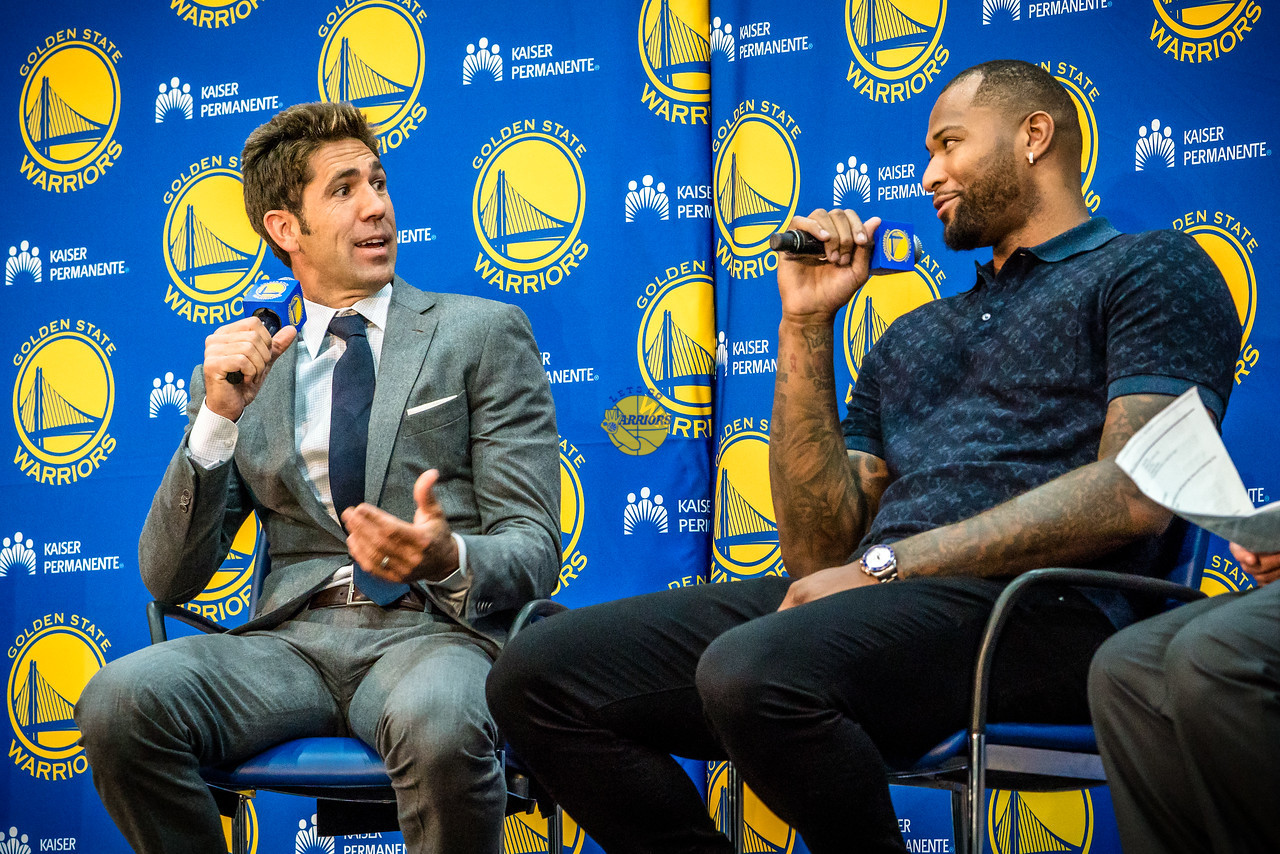 """PHOTO GALLERY & VIDEO: DeMarcus """"Boogie"""" Cousins introduction with Bob Myers and Tim Roye from Warriors HQ in Oakland"""