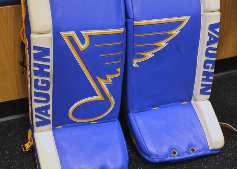 Blues goaltender Chad Johnson has some sweet heritage pads