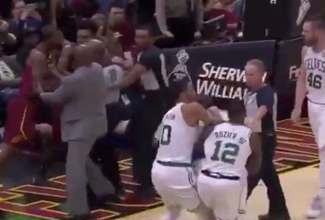 Watch: Marcus Smart hits JR Smith, gets ejected in fight