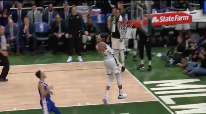 Giannis Antetokounmpo throws down epic windmill dunk (Video)