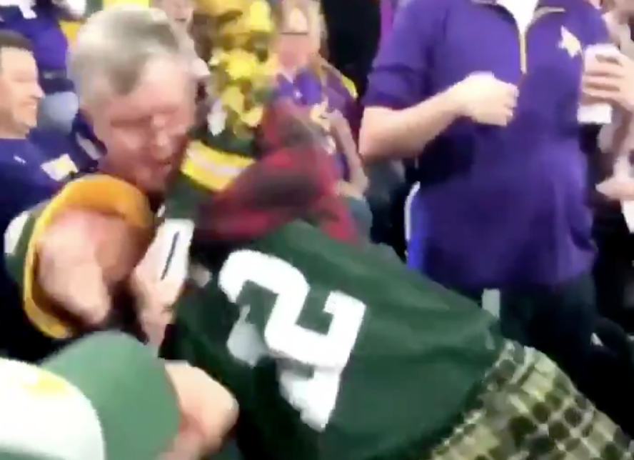 Watch: Elderly Vikings fan chokes out Packers fan in stands during game