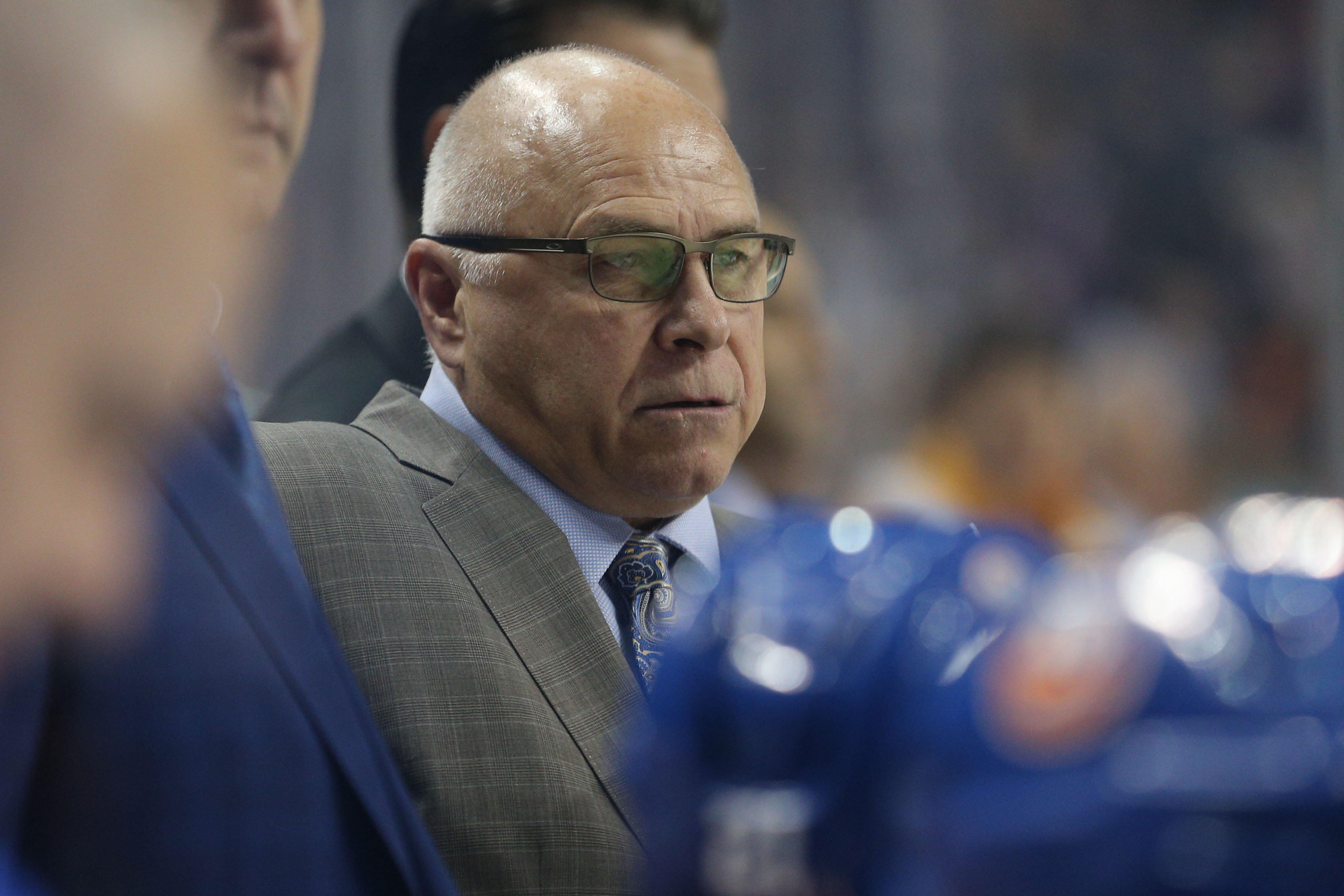 Oct 6, 2018; Brooklyn, NY, USA; New York Islanders head coach Barry Trotz coaches against the Nashville Predators during the first period at Barclays Center. Mandatory Credit: Brad Penner-USA TODAY Sports