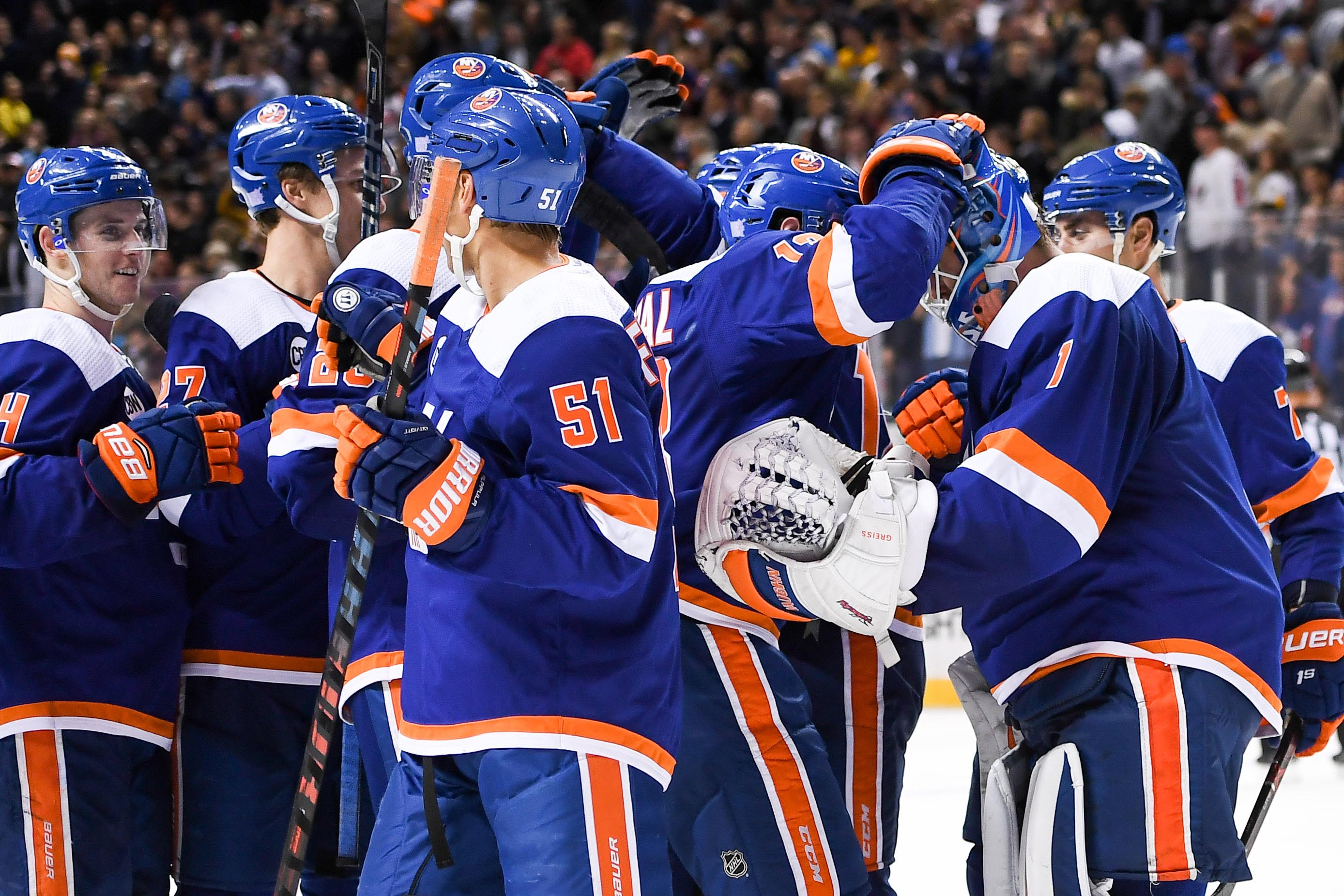 Nov 1, 2018; Brooklyn, NY, USA; New York Islanders celebrate the 3-2 win in shootouts against The Pittsburgh Penguins during shootouts at Barclays Center. Mandatory Credit: Dennis Schneidler-USA TODAY Sports