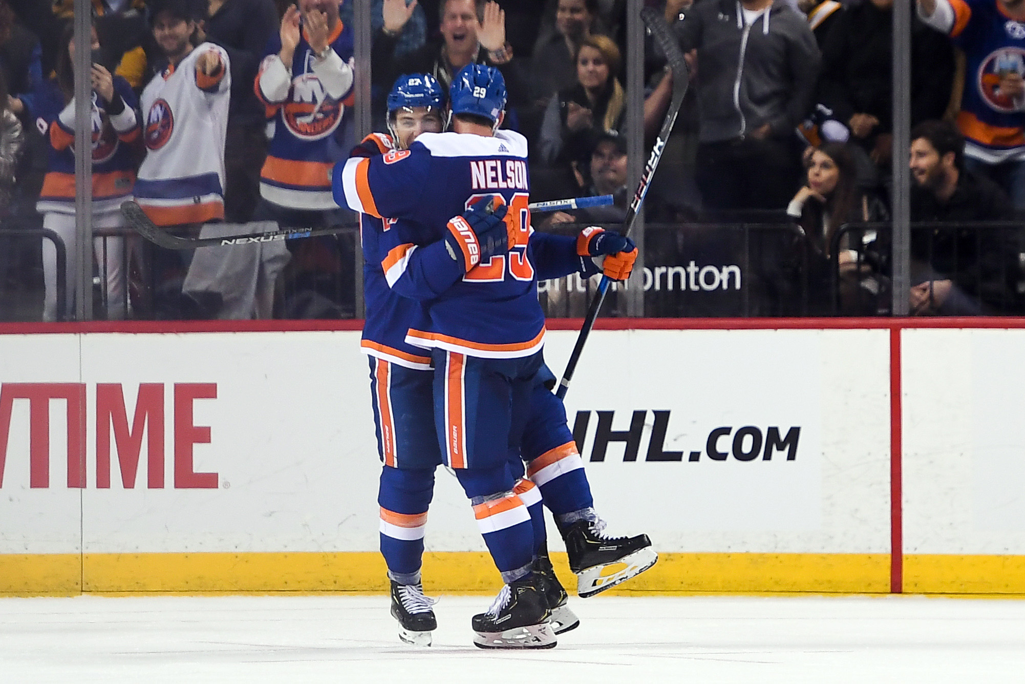 Nov 1, 2018; Brooklyn, NY, USA; New York Islanders left wing Anders Lee (27) celebrates his goal with New York Islanders center Brock Nelson (29) against The Pittsburgh Penguins during the third period at Barclays Center. Mandatory Credit: Dennis Schneidler-USA TODAY Sports