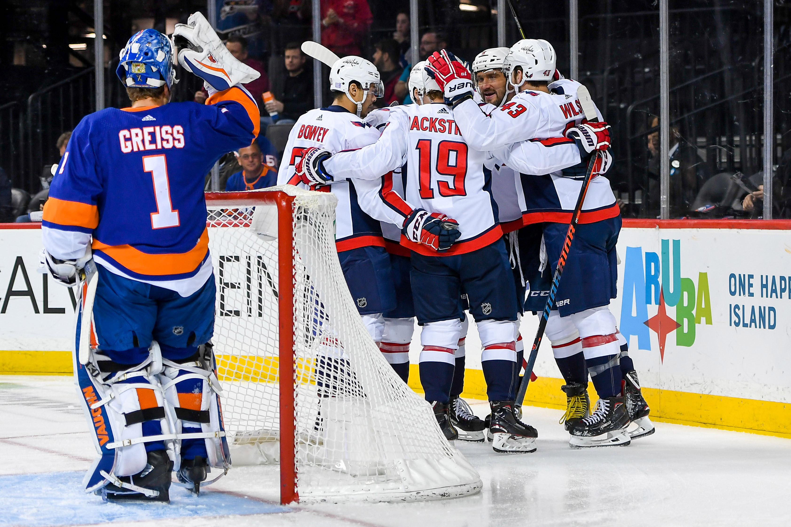 Nov 26, 2018; Brooklyn, NY, USA; Washington Capitals celebrate the goal by right wing Tom Wilson (43) against the New York Islanders during the first period at Barclays Center. Mandatory Credit: Dennis Schneidler-USA TODAY Sports