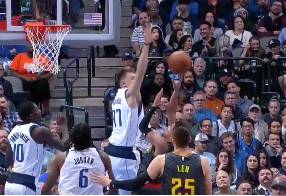 Watch: Luka Doncic swats Trae Young's shot away with authority