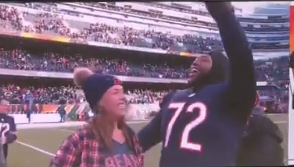 Bears OL Charles Leno proposes to girlfriend on field after Bears clinch NFC North title (Video)