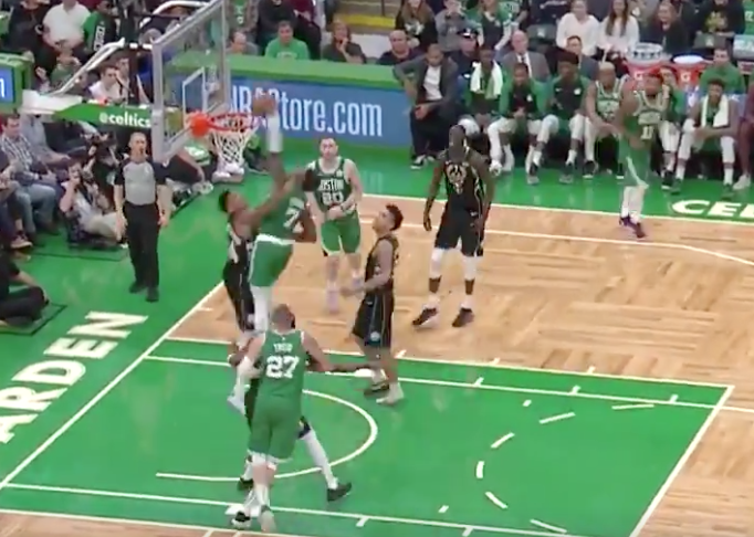 Jaylen Brown stares Giannis Antetokounmpo down after dunking on him (Video)