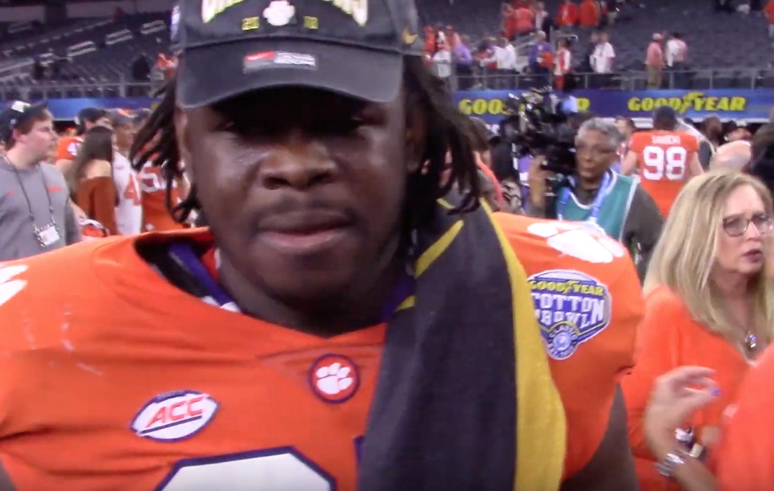 Albert Huggins reacts to Clemson's dominant win over Notre Dame in exclusive postgame interview (Video)