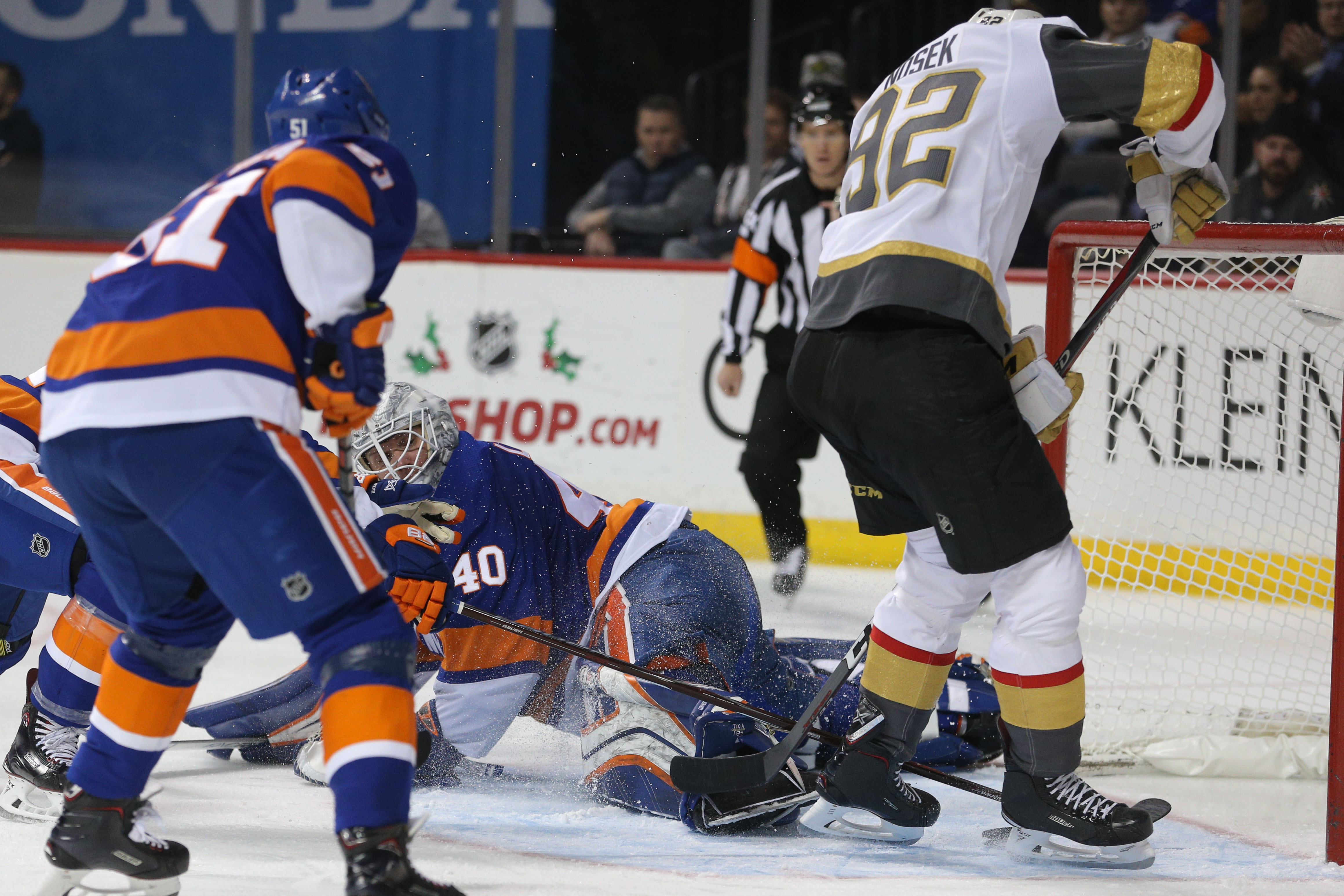 Dec 12, 2018; Brooklyn, NY, USA; Vegas Golden Knights center Tomas Nosek (92) scores the game winning goal past New York Islanders goalie Robin Lehner (40) during the third period at Barclays Center. Mandatory Credit: Brad Penner-USA TODAY Sports