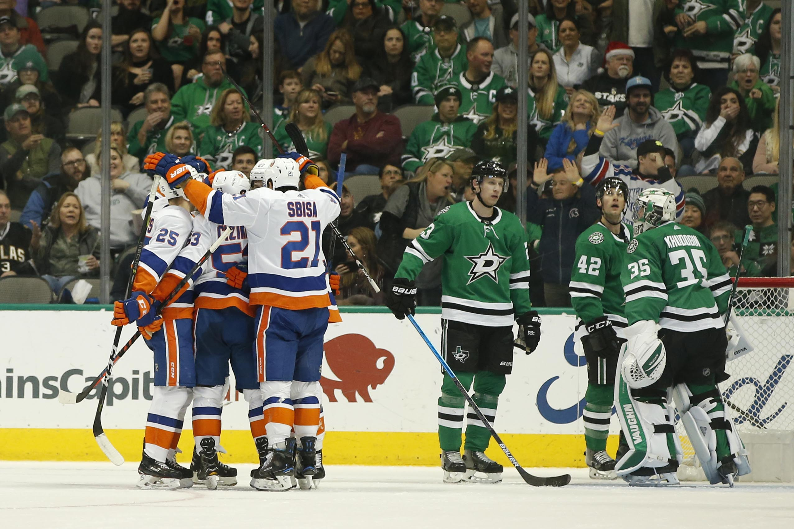 Dec 23, 2018; Dallas, TX, USA; New York Islanders celebrate a goal in the second period against the Dallas Stars at American Airlines Center. Mandatory Credit: Tim Heitman-USA TODAY Sports