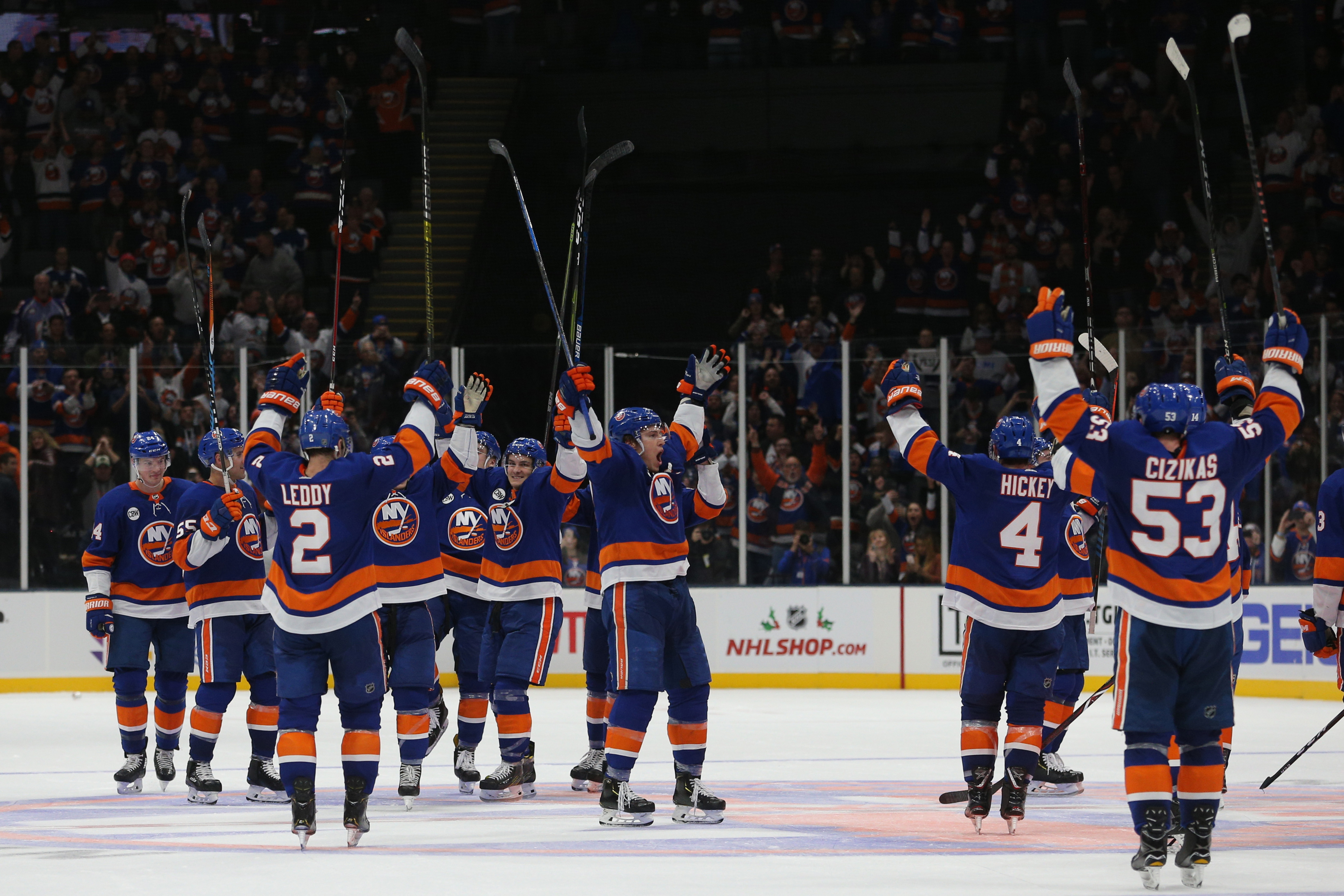 Dec 1, 2018; Uniondale, NY, USA; The New York Islanders acknowledge their fans after defeating the Columbus Blue Jackets at Nassau Veterans Memorial Coliseum. Mandatory Credit: Brad Penner-USA TODAY Sports