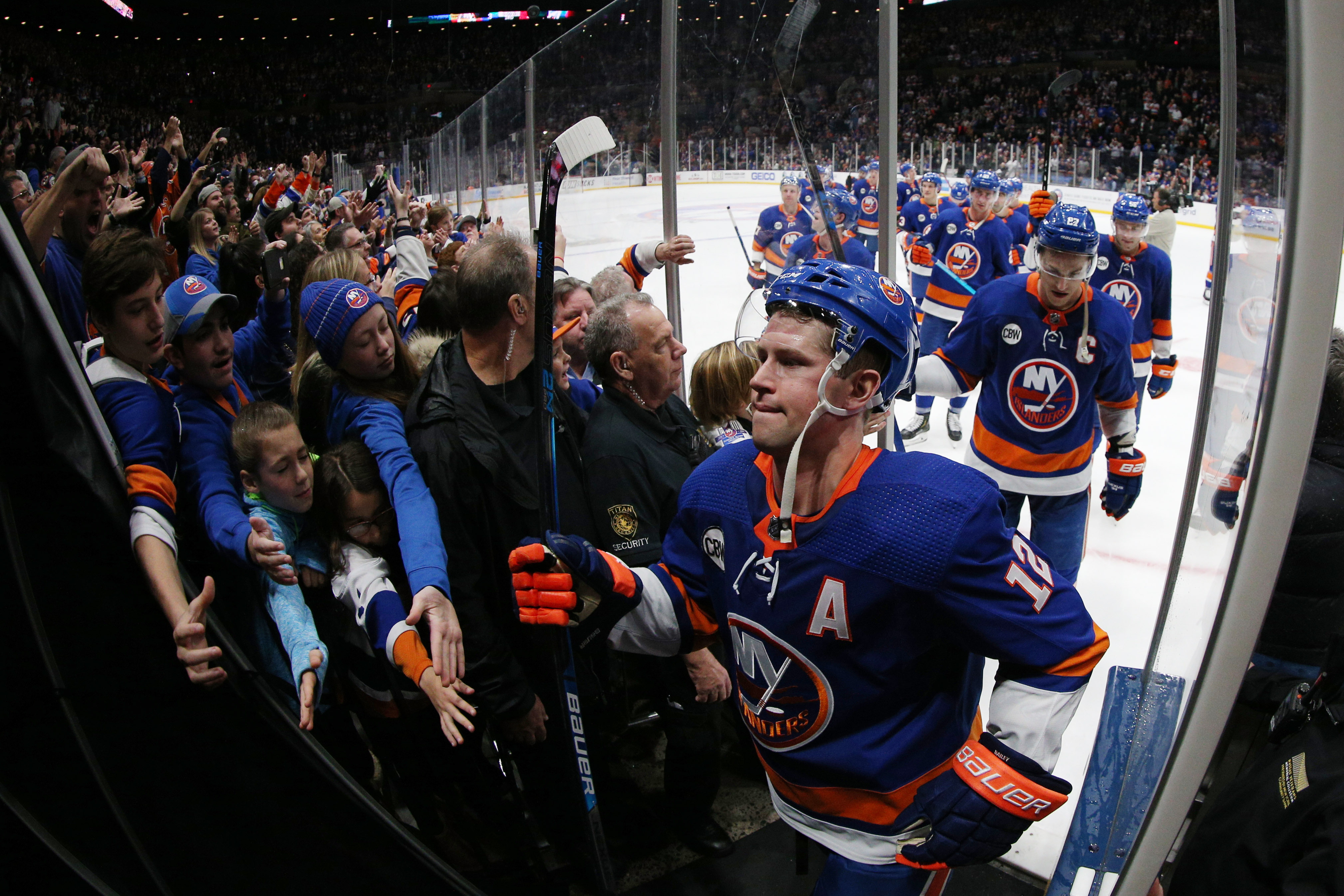 Dec 1, 2018; Uniondale, NY, USA; The New York Islanders are greeted by fans as they leave the ice after defeating the Columbus Blue Jackets at Nassau Veterans Memorial Coliseum. Mandatory Credit: Brad Penner-USA TODAY Sports