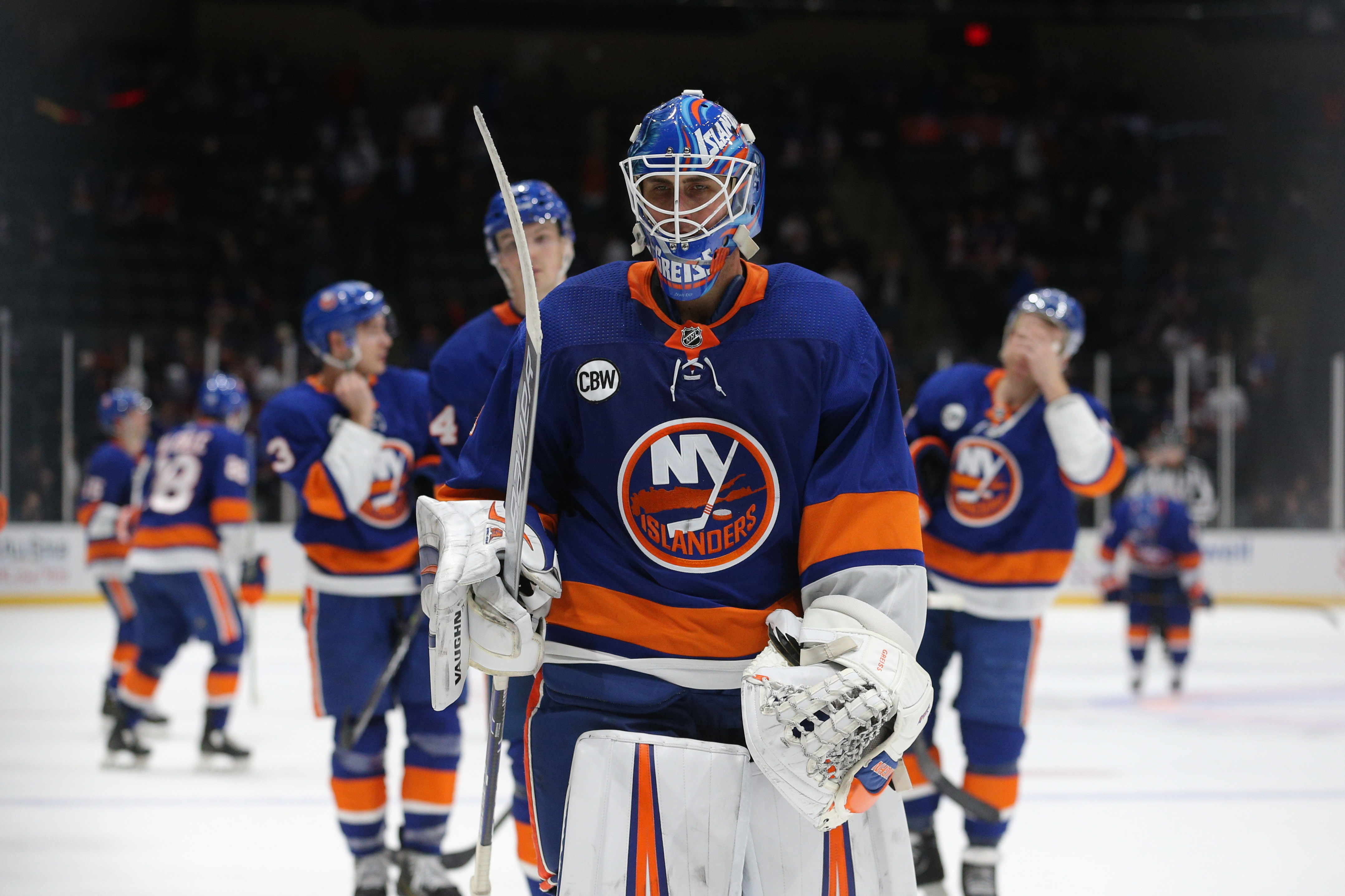 Jan 8, 2019; Uniondale, NY, USA; New York Islanders goalie Thomas Greiss (1) leaves the ice after losing to the Carolina Hurricanes at Nassau Veterans Memorial Coliseum. Mandatory Credit: Brad Penner-USA TODAY Sports