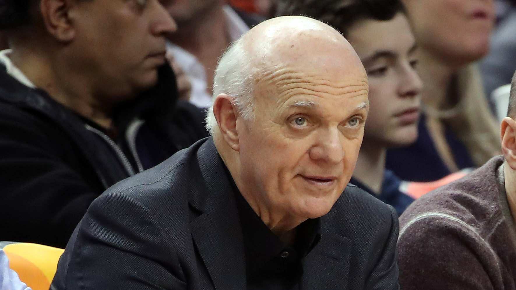 Jan 22, 2017; Toronto, Ontario, CAN; Toronto Maple Leafs general manager Lou Lamoriello and New Yor Yankees general manager Brian Cashman watch the Toronto Raptors play against the Phoenix Suns at Air Canada Centre. Mandatory Credit: Tom Szczerbowski-USA TODAY Sports