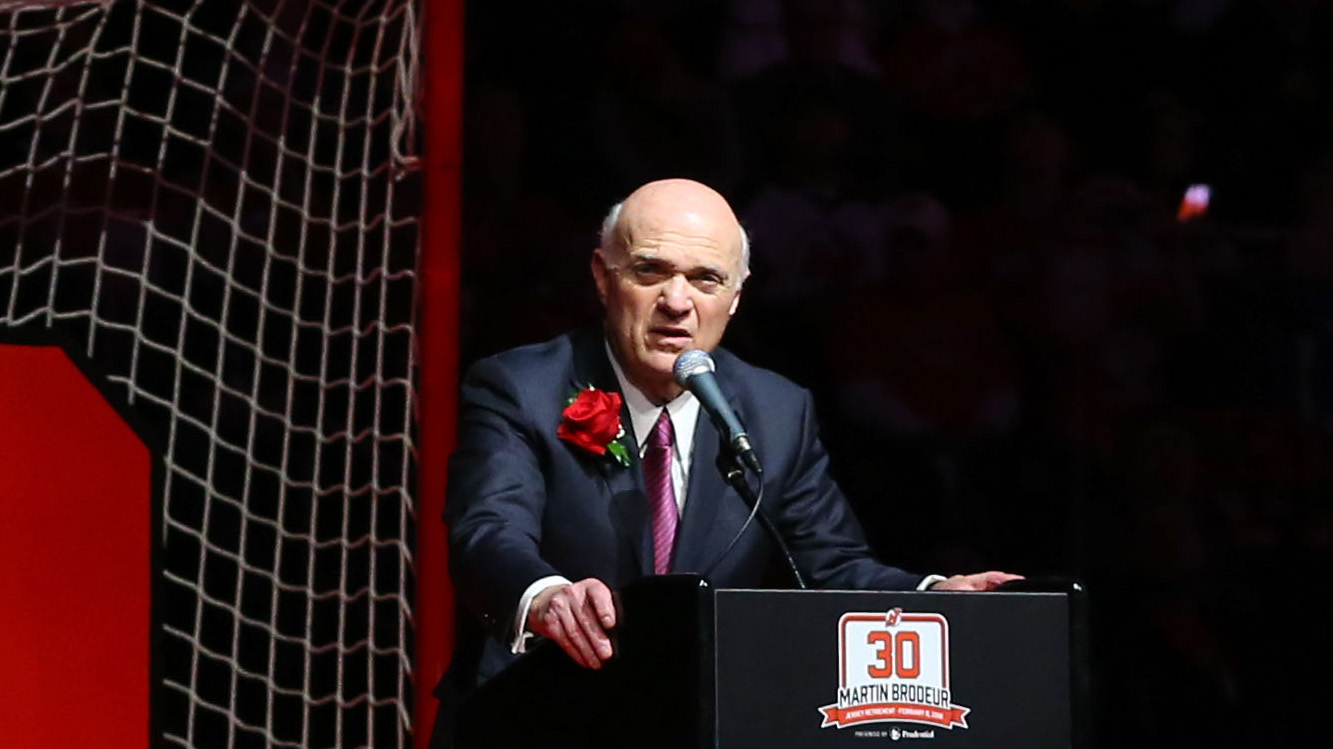 Feb 9, 2016; Newark, NJ, USA; Former New Jersey Devils GM Lou Lamoriello speaks during the number retirement ceremony for former New Jersey Devils goaltender Martin Brodeur at Prudential Center. Mandatory Credit: Ed Mulholland-USA TODAY Sports