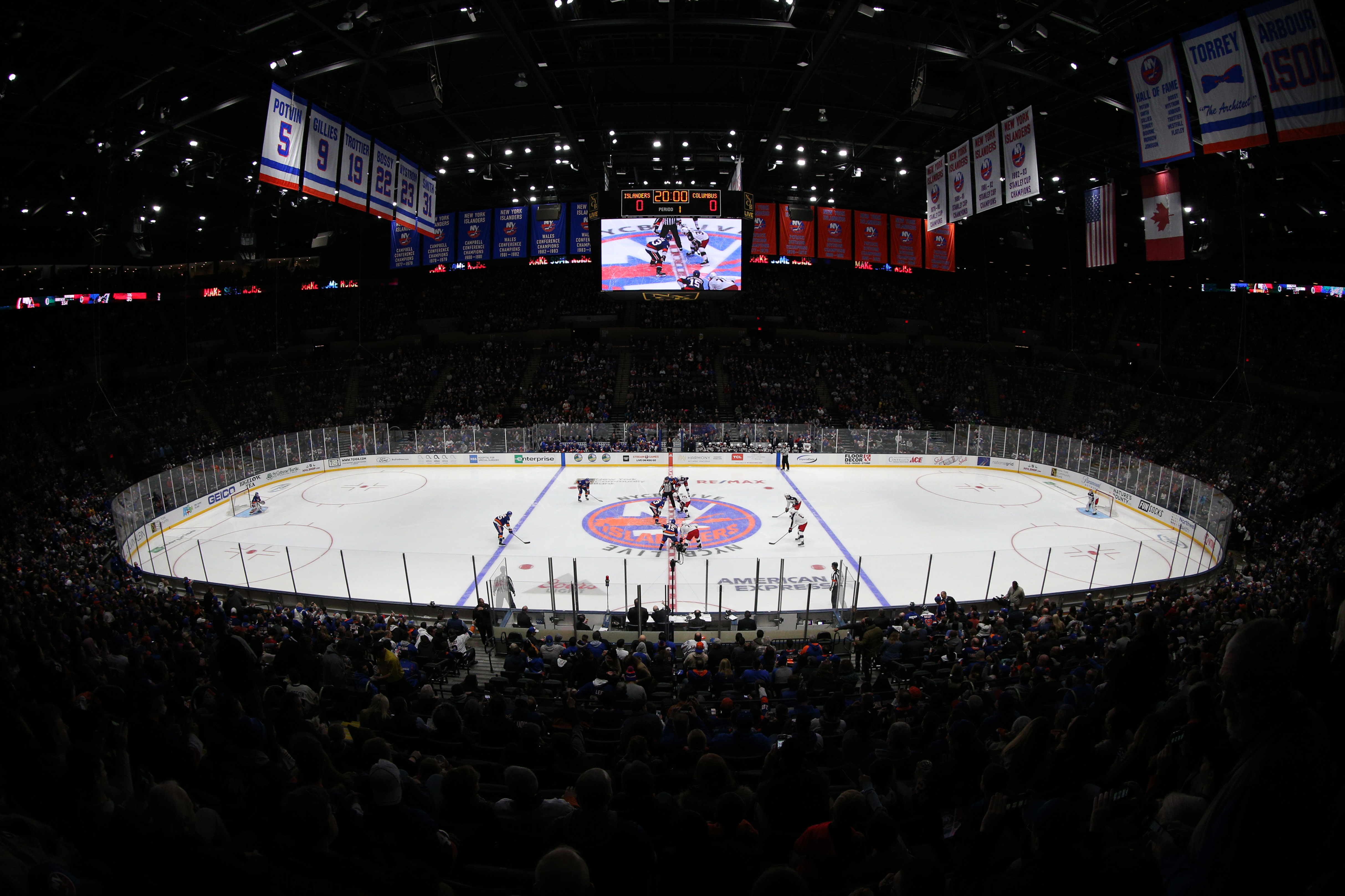 Dec 1, 2018; Uniondale, NY, USA; General view of the opening puck drop between the New York Islanders and the Columbus Blue Jackets during the first period at Nassau Veterans Memorial Coliseum. Mandatory Credit: Brad Penner-USA TODAY Sports