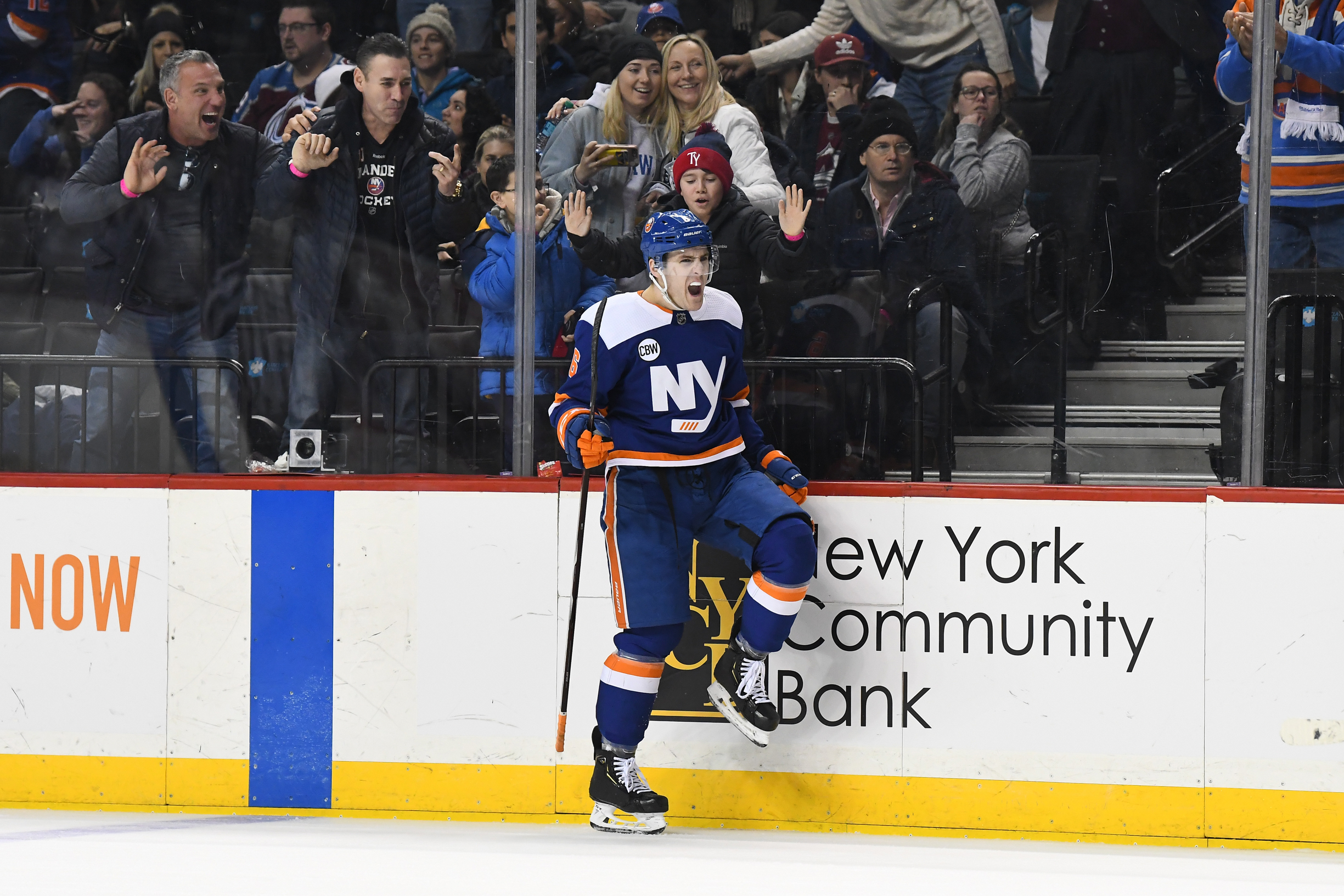 Feb 9, 2019; Brooklyn, NY, USA; New York Islanders defenseman Ryan Pulock (6) reacts after scoring in overtime against the Colorado Avalanche at Barclays Center. Mandatory Credit: Catalina Fragoso-USA TODAY Sports