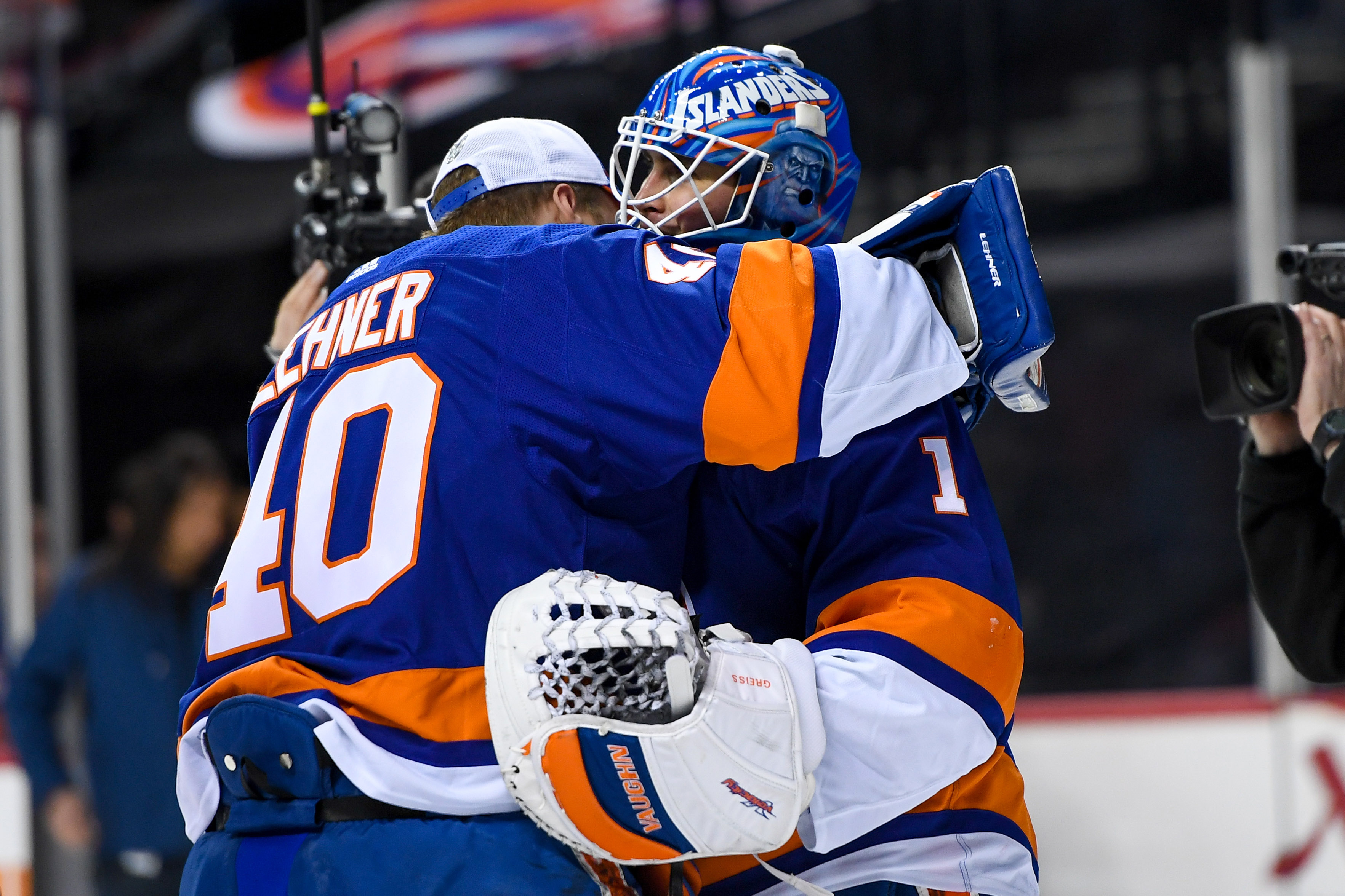 Feb 10, 2019; Brooklyn, NY, USA; New York Islanders goaltender Robin Lehner (40) celebrates with Islanders goaltender Thomas Greiss (1) after defeating the against the Minnesota Wild at Barclays Center. Mandatory Credit: Dennis Schneidler-USA TODAY Sports