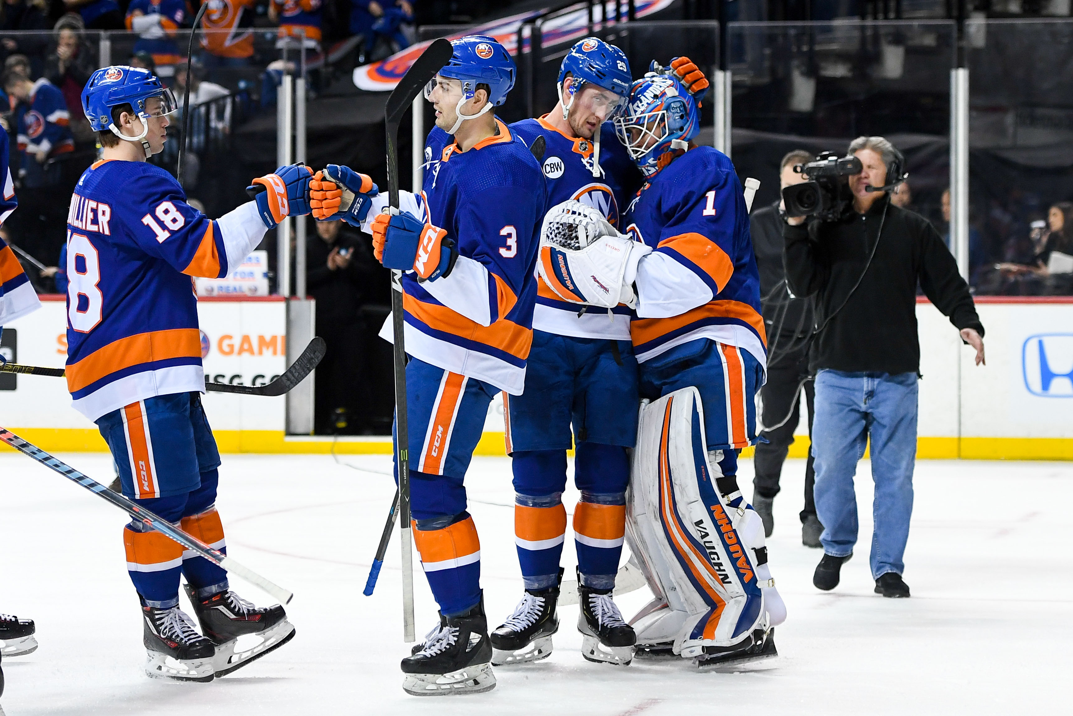 Feb 10, 2019; Brooklyn, NY, USA; New York Islanders center Brock Nelson (29) celebrates with Islanders goaltender Thomas Greiss (1) after defeating the against the Minnesota Wild at Barclays Center. Mandatory Credit: Dennis Schneidler-USA TODAY Sports