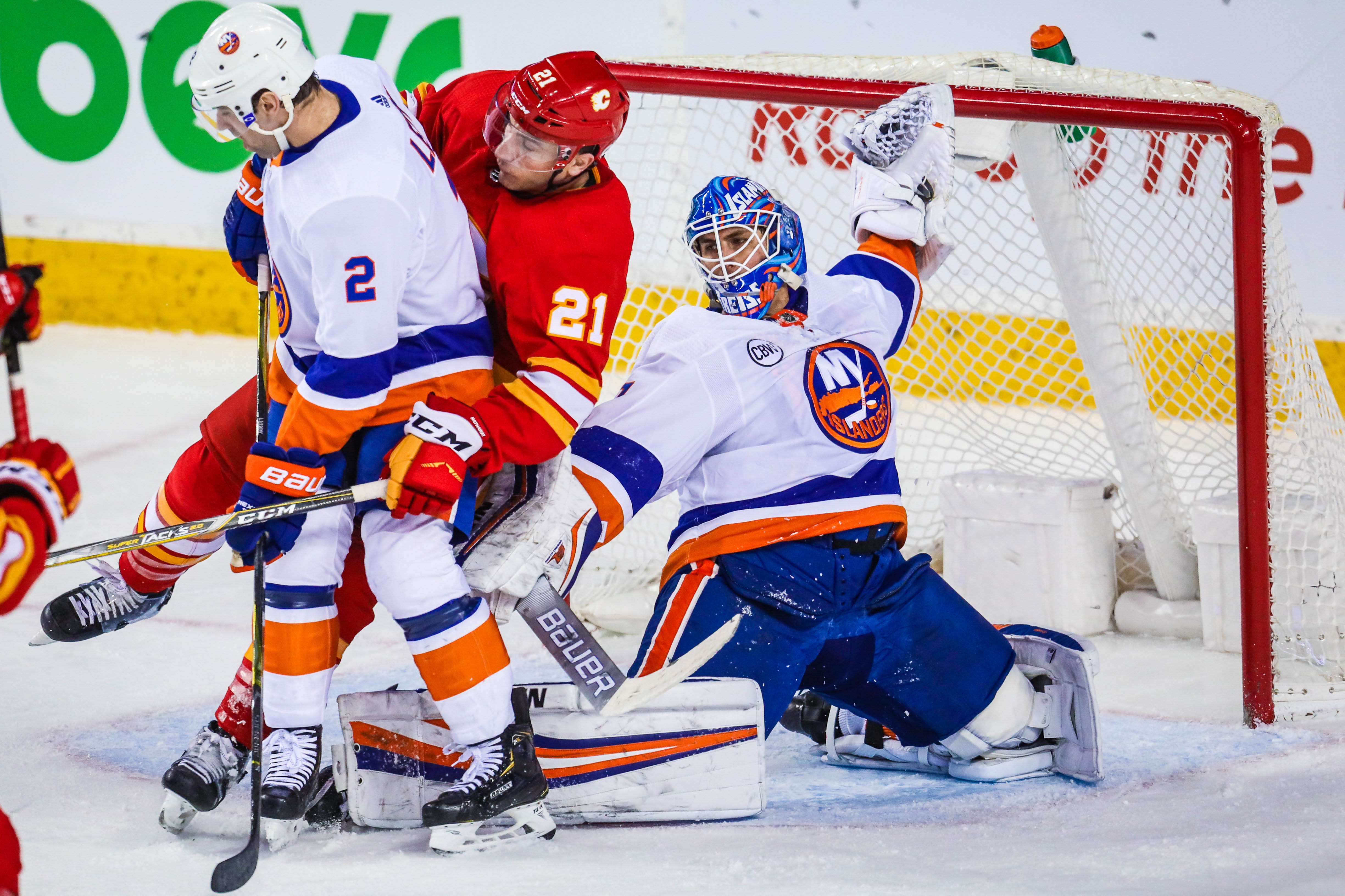 Feb 20, 2019; Calgary, Alberta, CAN; New York Islanders goaltender Thomas Greiss (1) guards his net against the Calgary Flames during the first period at Scotiabank Saddledome. Mandatory Credit: Sergei Belski-USA TODAY Sports