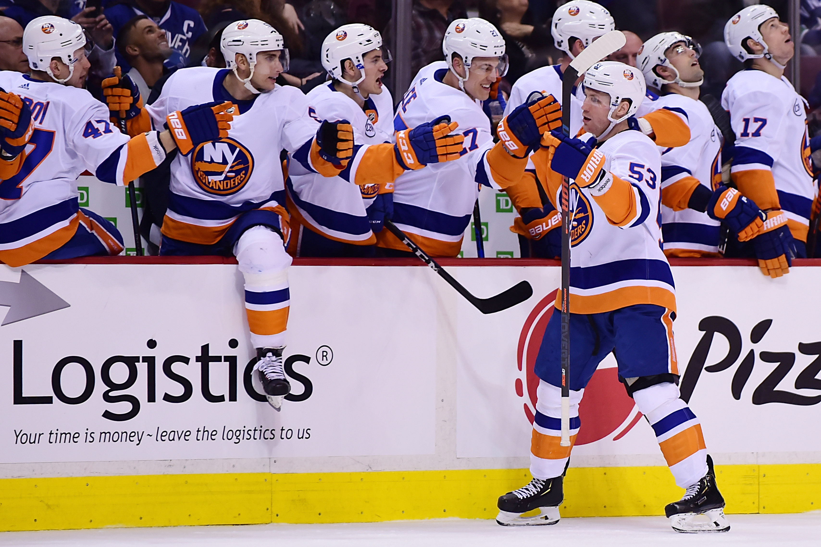 Feb 23, 2019; Vancouver, British Columbia, CAN; New York Islanders forward Casey Cizikas (53) celebrates his goal against the Vancouver Canucks during the first period at Rogers Arena. Mandatory Credit: Anne-Marie Sorvin-USA TODAY Sports