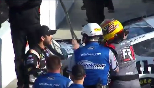NASCAR drivers Daniel Suarez, Michael McDowell trade punches in qualifier (Video)