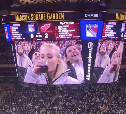 'Game of Thrones' star Sophie Turner chugs wine at Rangers game (Video)