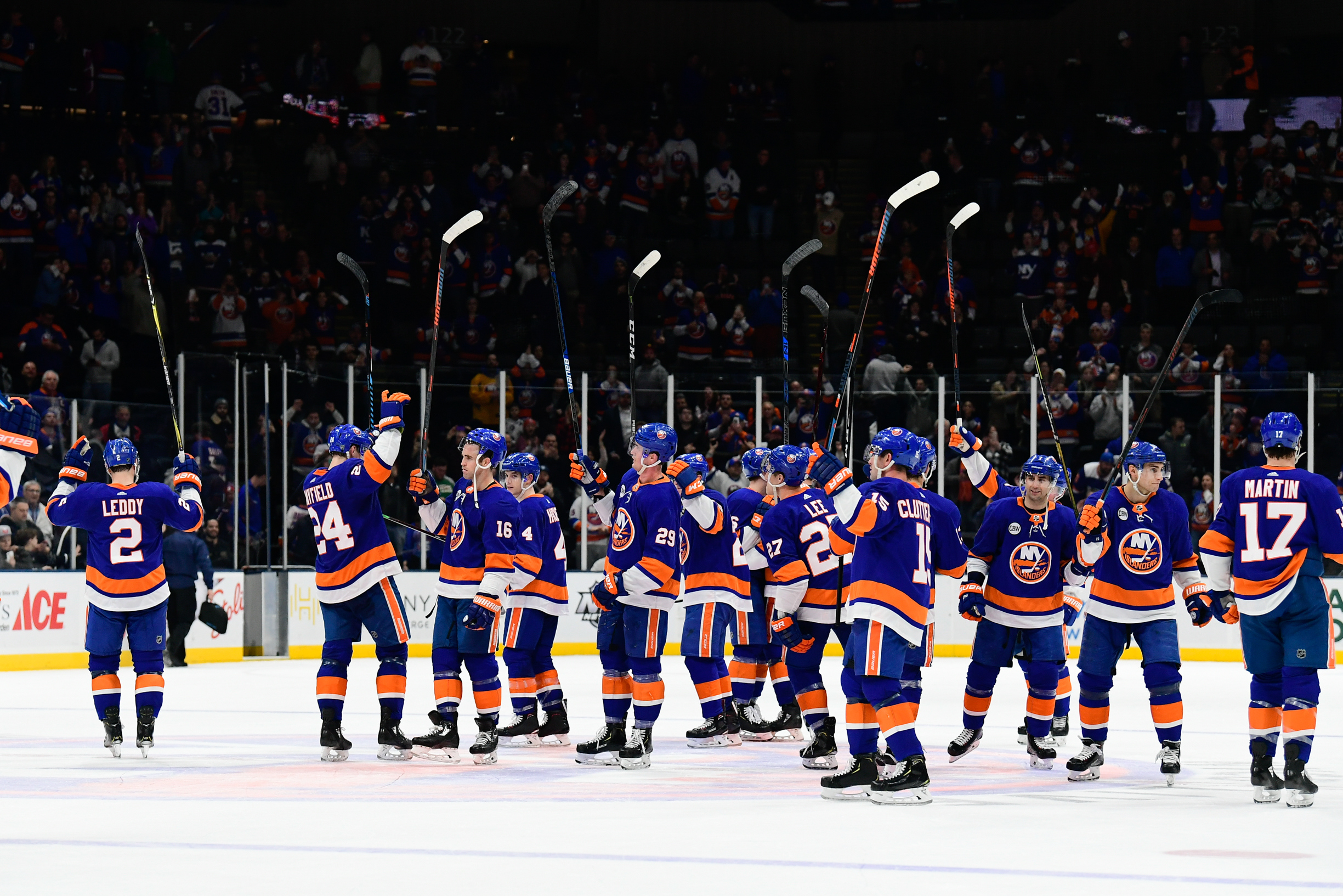 Mar 11, 2019; Uniondale, NY, USA; The New York Islanders react to fans after winning 2-0 against the Columbus Blue Jackets at Nassau Veterans Memorial Coliseum. Mandatory Credit: Catalina Fragoso-USA TODAY Sports