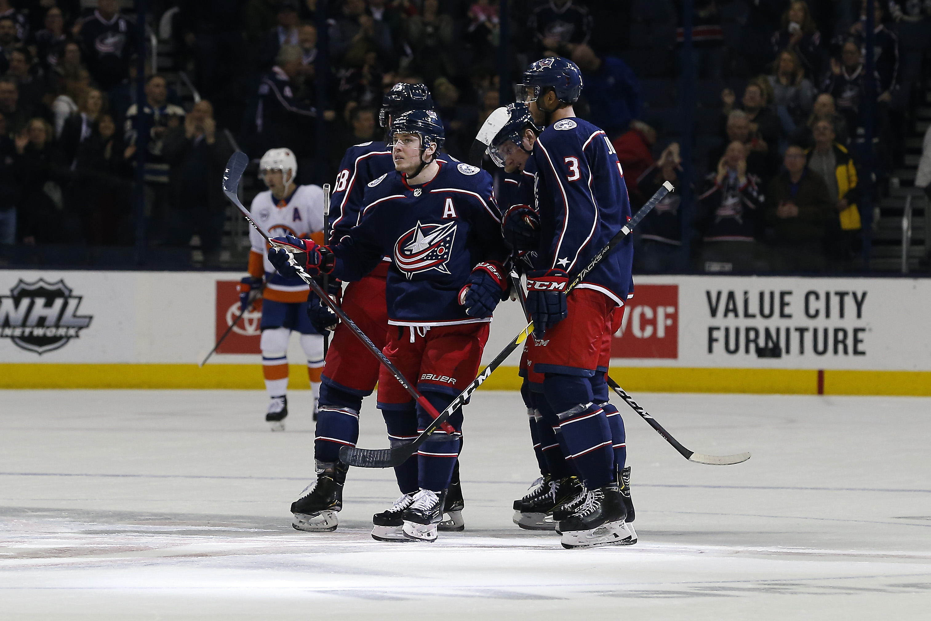 Mar 26, 2019; Columbus, OH, USA; Columbus Blue Jackets right wing Cam Atkinson (13) celebrates a goal during the third period against the New York Islanders at Nationwide Arena. Mandatory Credit: Russell LaBounty-USA TODAY Sports