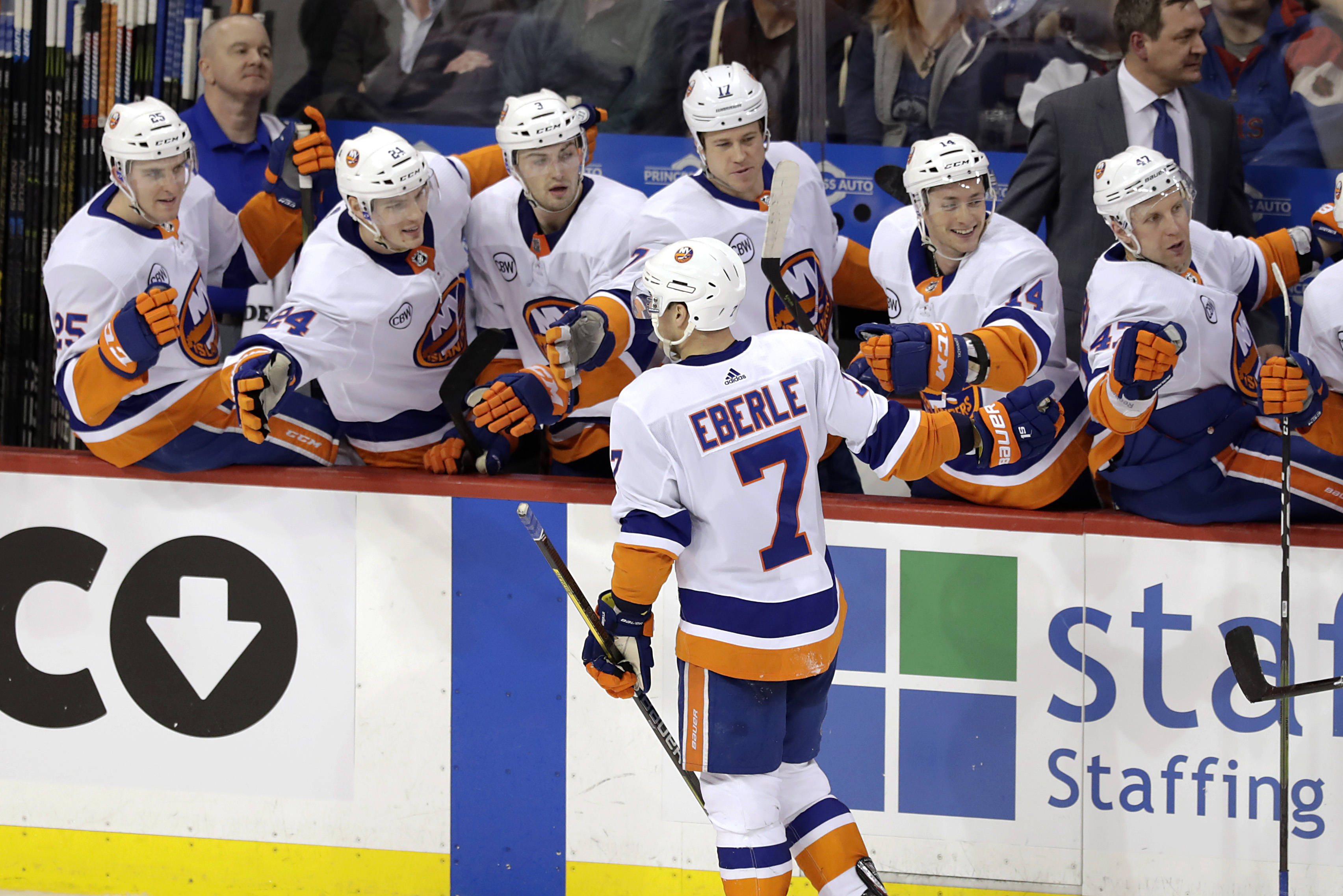Mar 28, 2019; Winnipeg, Manitoba, CAN; New York Islanders right wing Jordan Eberle (7) celebrates after scoring a third period goal against the Winnipeg Jets at Bell MTS Place. Mandatory Credit: James Carey Lauder-USA TODAY Sports