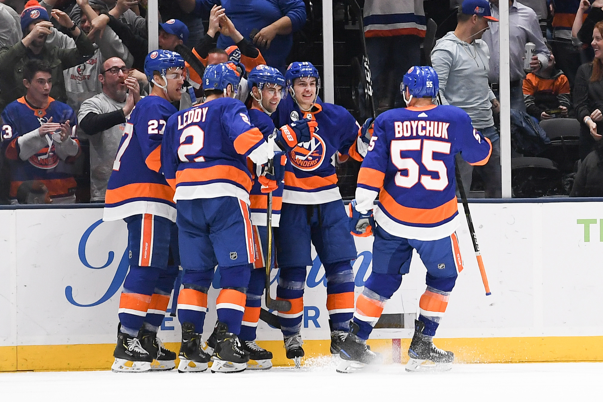 Mar 30, 2019; Uniondale, NY, USA; New York Islanders celebrate the goal by New York Islanders right wing Jordan Eberle (7) against the Buffalo Sabres during the first period at Nassau Veterans Memorial Coliseum. Mandatory Credit: Dennis Schneidler-USA TODAY Sports
