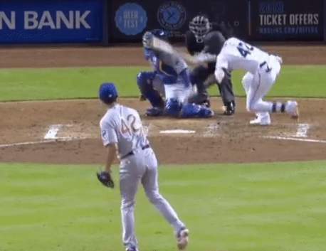 Yu Darvish somehow knocks down three people with one pitch (Video)