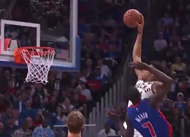 Giannis Antetokounmpo destroys former teammate Thon Maker with massive dunk (Video)