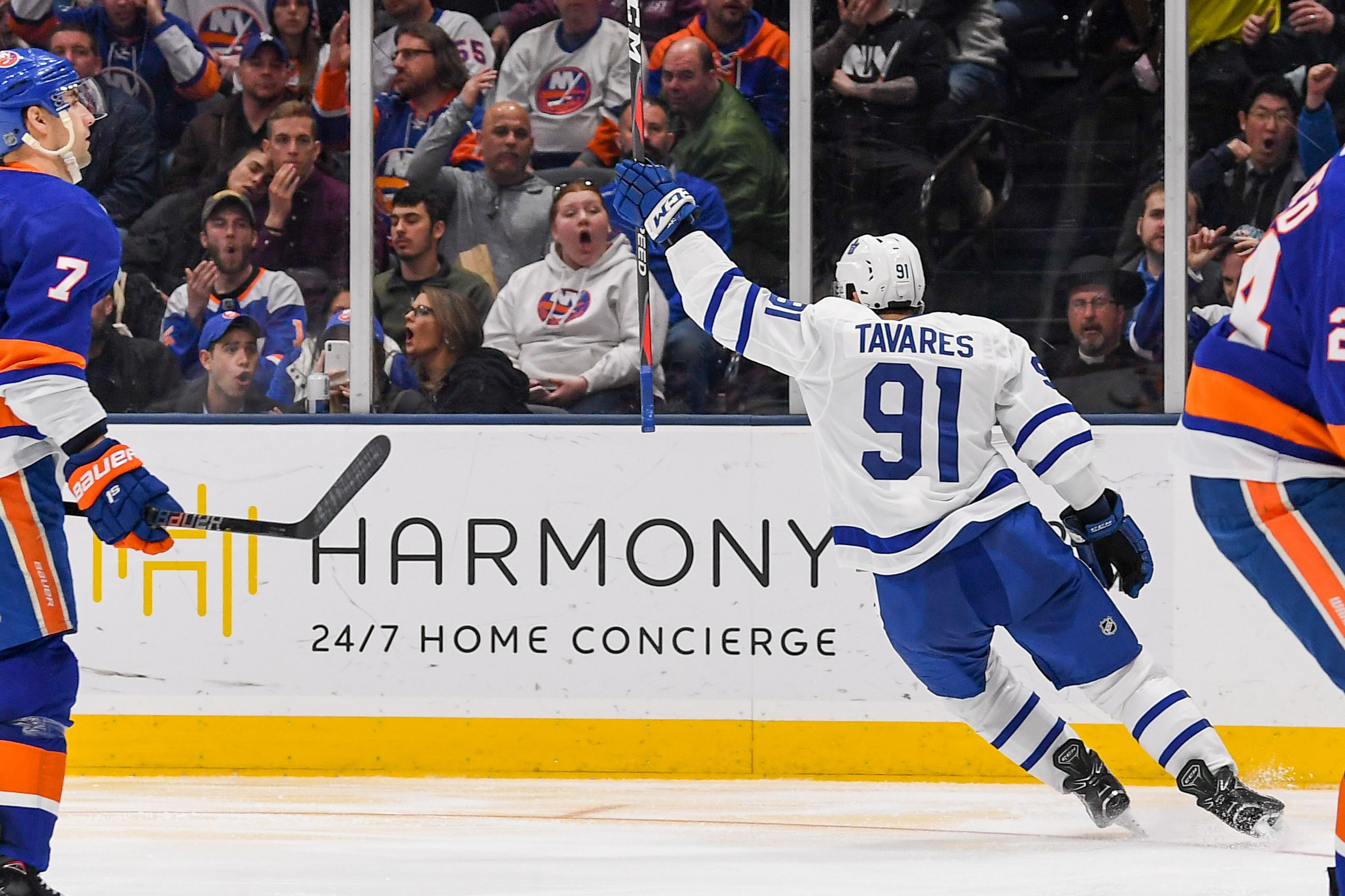 Apr 1, 2019; Uniondale, NY, USA; Toronto Maple Leafs center John Tavares (91) celebrates his goal against the New York Islanders during the third period at Nassau Veterans Memorial Coliseum. Mandatory Credit: Dennis Schneidler-USA TODAY Sports